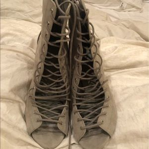 Pale Grey lace up heeled booties